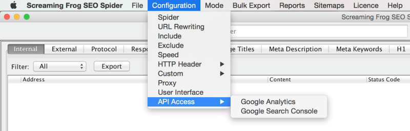 Connect Screaming Frog with Google APIs