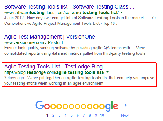 TestLodge's page 1 result screenshot