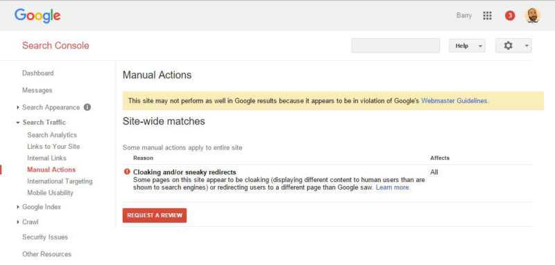Cloaking Manual Penalty message in Google Search Console