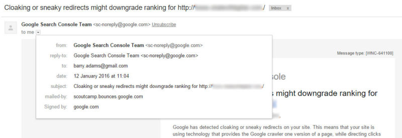 Google sneaky redirects email notification