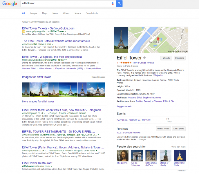 Knowledge Graph listings will continue as they are