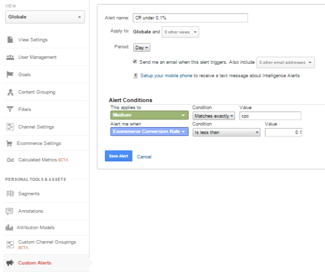 Custom Alert Adwords