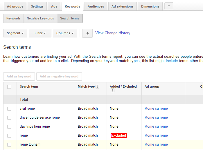 Search Terms - Adwords