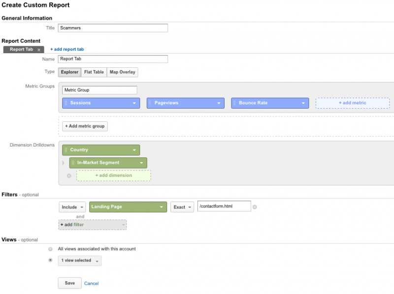 google analytics scammers custom report creation
