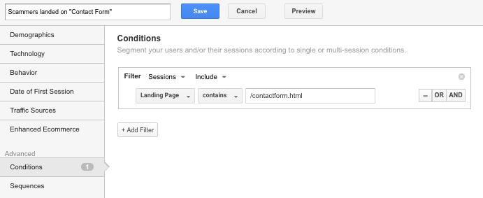 google analytics scammers segment