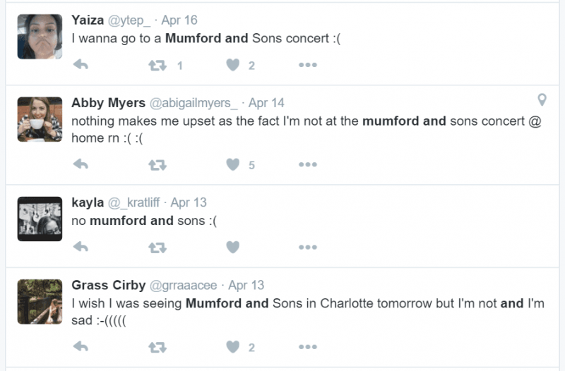 Twitter search for Mumford and Sons