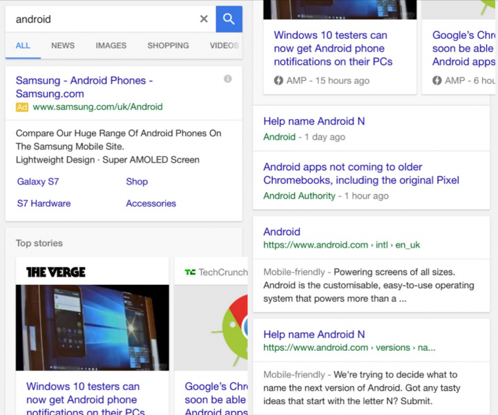 Android Mobile Search Results