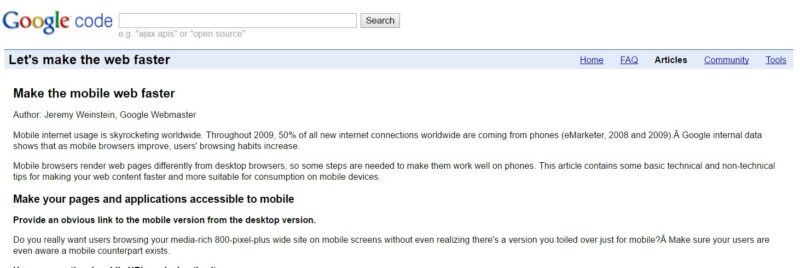 Make The Mobile Web Faster Post