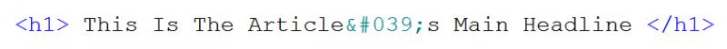 Headline with ASCII characters