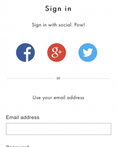 Social Registration Form on Mobile