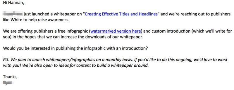 Outreach email for infographic