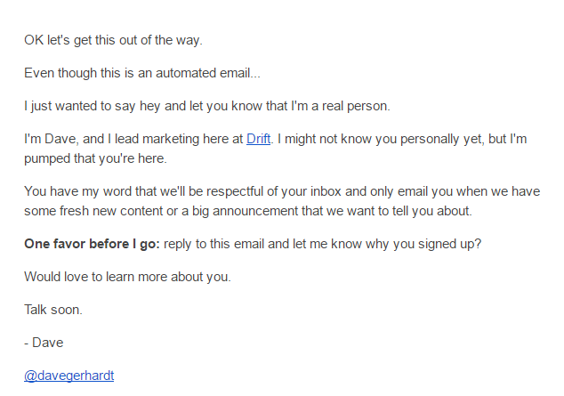 First email from Drift