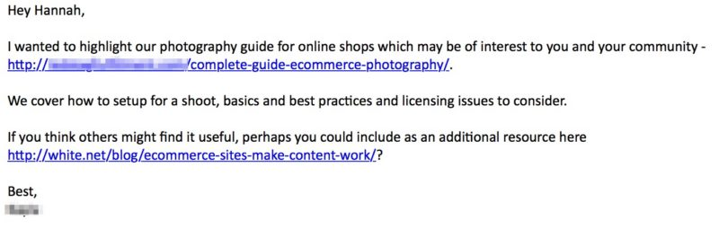 Outreach email for photography guide