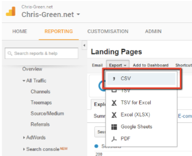 Google Analytics Landing Pages