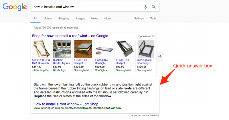 google quick answer box