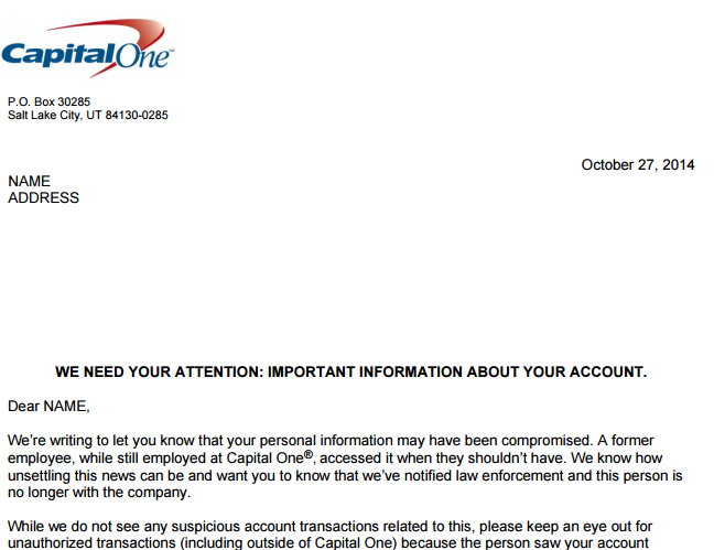 Capital One Letter