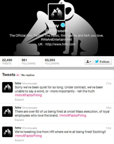 HMV hacked Twitter account