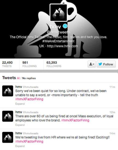 HMV hacked Twitter account