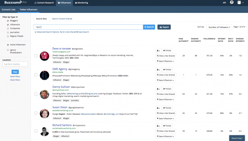 """Results for """"SEO""""   Influencer Research using BuzzSumo"""