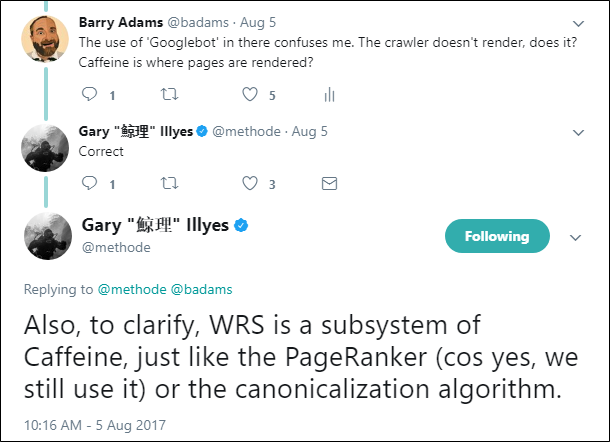 Gary Illyes on Twitter