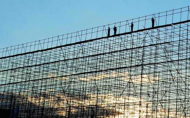 scaffold against a blue sky
