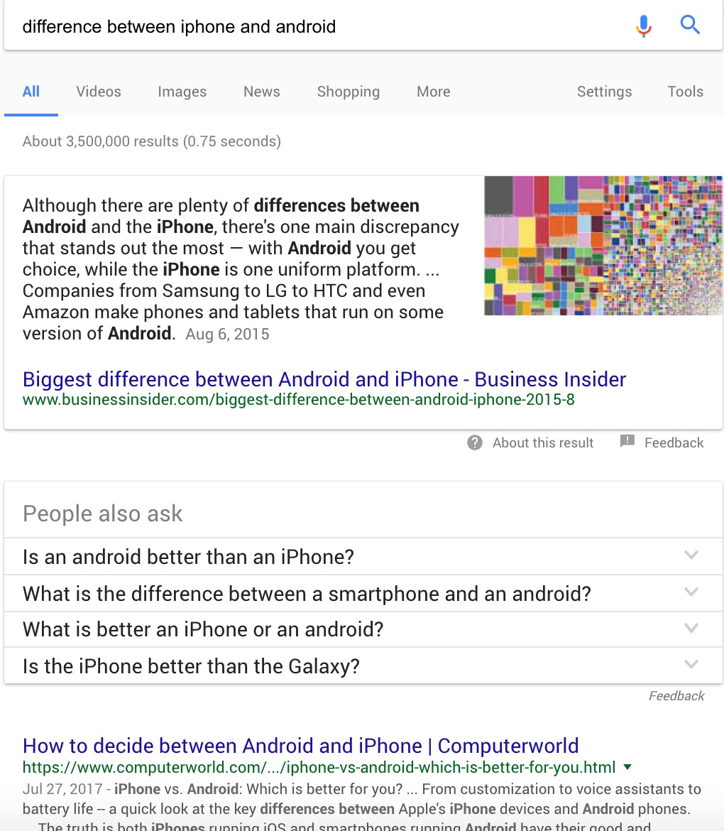 comparing the differences between the iphone and the android Which is the best smartphone platform: the iphone's ios, or google android in macworld's (scrupulously fair) head-to-head article we list the pros and cons of buying an iphone or an android handset iphone vs android: which is the better smartphone platform and what are the differences between ios.