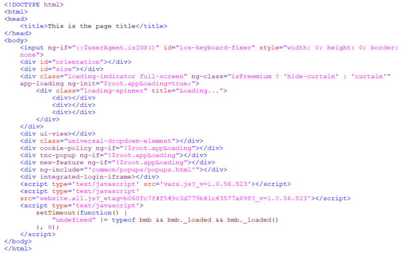 JavaScript HTML source code