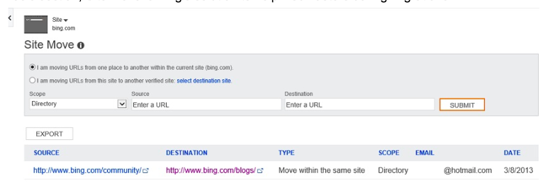 Bing Site Move