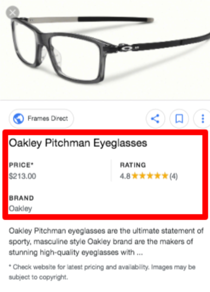 Product Rich Result in Google Images Search