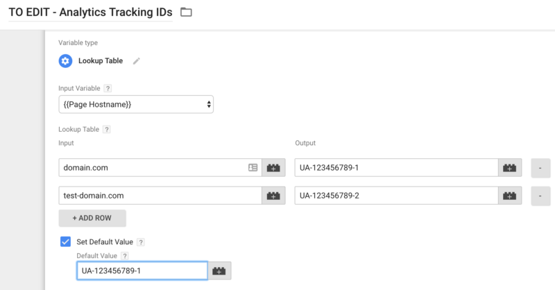 Google Analytics Lookup table GTM