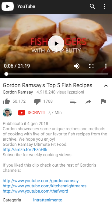 YouTube screenshot Gordon Ramsay top 5 recipes