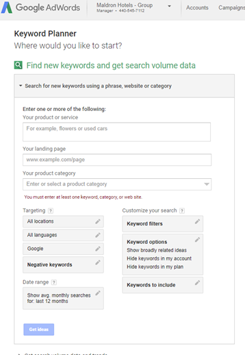 Google Adwords Keyword Planner for Adwords