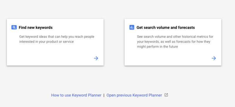 New Keyword Planner search keywords
