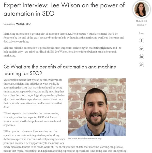 Expert Interview - Lee Wilson - Head of Services & SEO - Vertical Leap