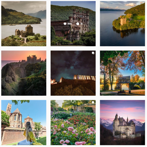 Nine square images of castles