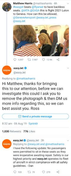 Screenshots from EasyJet's Twitter feed
