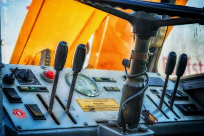 Image of steering levers in a vehicle