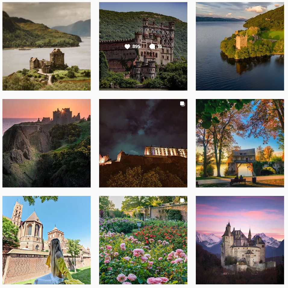 Nine square images of castles