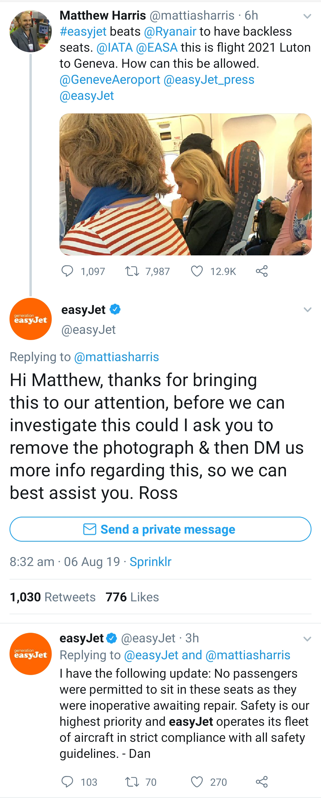 Screenshots from EasyJet's Twitter feed