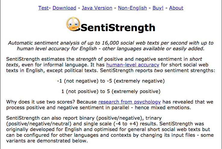 Sentiment Analysis Tools SentiStrength