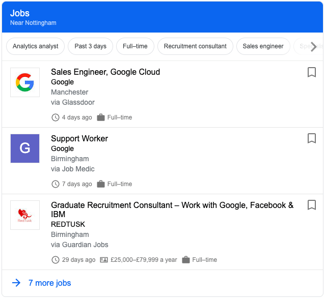Google Jobs Box in SERPs