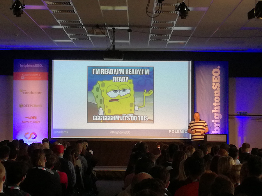 Barry Adams speaking at BrightonSEO