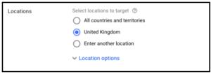 location settings adwords