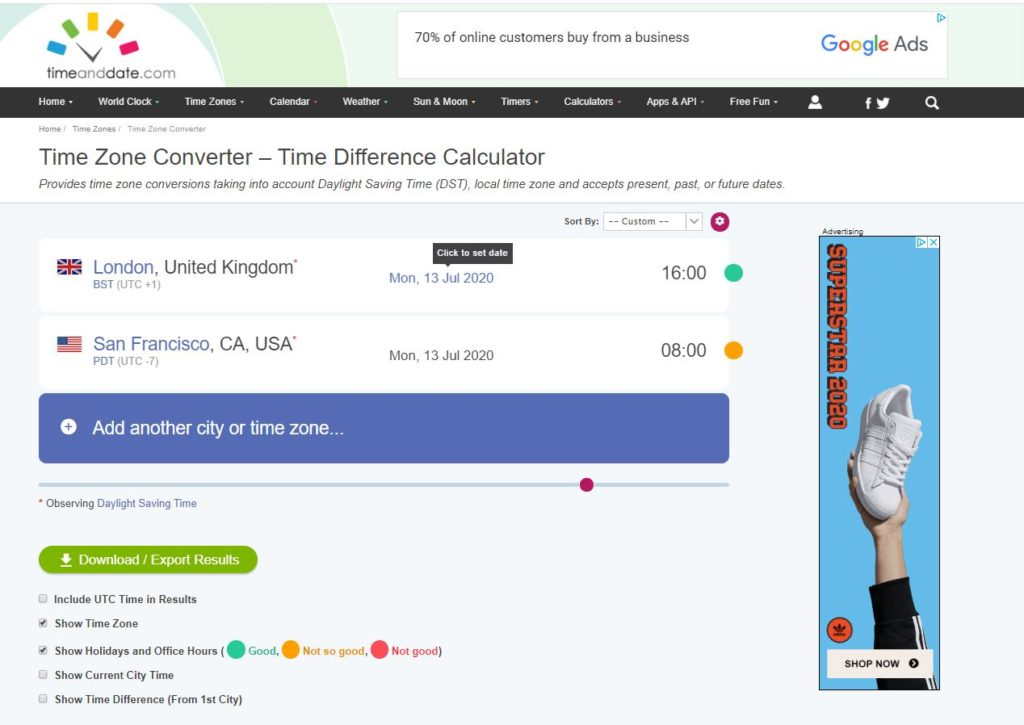 Time and Date Timezone Calculator for PR