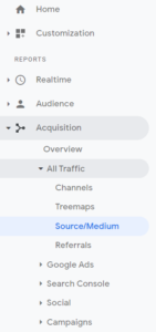 Source/Medium report in Google Analytics