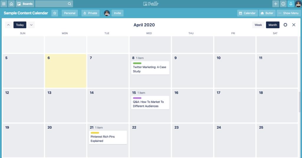 Trello content calendar example