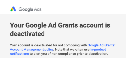 google charity account deactivated