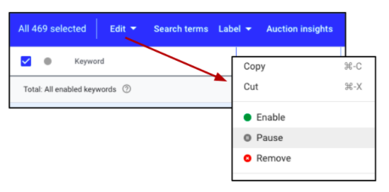 single word keywords - google ads