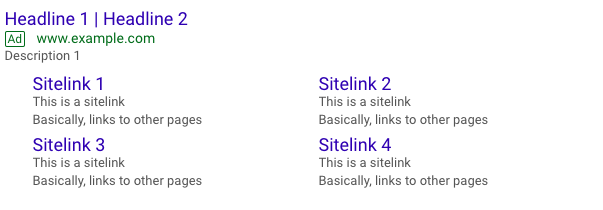 sitelinks for charity account - google ads