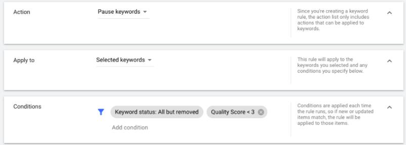 quality score autorule - google ads